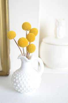 Billy Buttons in a hobnail pitcher