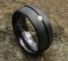 gothic mens engagement rings | Diamond Set Black Ring Mens Black Zirconium Diamond Ring
