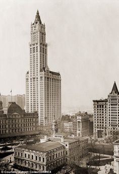 Mogul: Frank Winfield Woolworth (left) founded F W Woolworth Co, which ran stores known as 'Five-and-Dimes' selling products for five or ten cents.In 1913, he built the $13.5m Woolworth Building in New York (right) which was then the tallest building in the world at 792ft