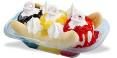 DQ Banana Split  Delicious, creamy DQ® vanilla soft serve nestled between sweet banana slices and covered in luscious strawberry, pineapple, chocolate and whipped toppings.