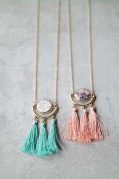 """Marble + tassels + gold = love Details: 34"""" + 4"""" extender Lobster clasp closure Gold plated"""