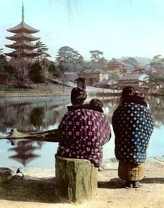 Babysitters on a cold bay at Sarusawa pond, Kofukuji temple, Nara, ca. 1898 by T. Enami