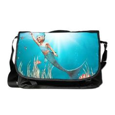 By Simone @elyse w Press : Little #Mermaid 1 #Messenger #Bag Little Mermaid 1 - A little mermaid in the play with starfish! A cute underwater scene with a little mermaid