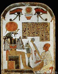 Ägyptische Malerei - Harfenist vor Re-Harachte / ägypt.Stele