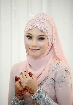 peach color Hijab Wedding for girls