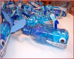 Recycle art blue whales