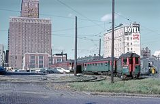 Chicago, North Shore & Milwaukee's lower yard, located at West Clybourn Street east of the interurban's Northern Terminal (its primary passenger facility in downtown Milwaukee), is seen here on October Roger Puta photo. Milwaukee Skyline, Milwaukee Road, Milwaukee Wisconsin, Japan Train, Railroad Pictures, Railroad History, S Bahn, Bonde, Railroad Photography