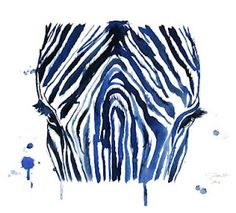 watercolor art, blue zebra