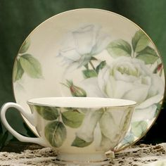 White Rose Bone China Tea Cup Teacup for tea in the library