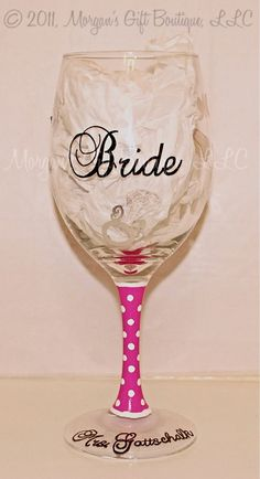 Bride Hand Painted Wine Glass by MorgansGiftBoutique on Etsy Decorated Wine Glasses, Hand Painted Wine Glasses, Wine Craft, Wine Bottle Crafts, Verre A Vin Design, Glitter Glasses, Wedding Glasses, Glass Bottles, Wine Bottles