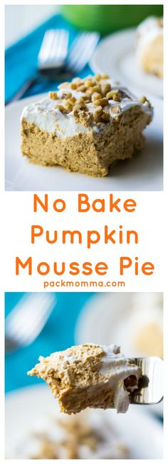 No Bake Pumpkin Mousse Pie is an easy creamy no bake pumpkin dessert that is ready in just two hours. Perfect for last minute invites and potluck parties!