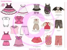 Designing styles & graphics for Baby Girls Summer Collection.