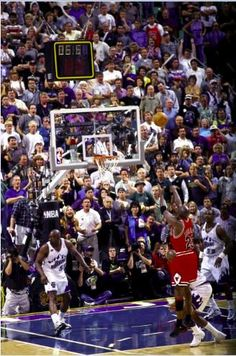 Michael Jordan won his NBA title with the Chicago Bulls by committing an obvious offensive push off foul on Russell and hitting this shot to beat the Utah Jazz. Basketball Art, Basketball Pictures, Love And Basketball, Sports Pictures, Basketball Players, Basketball Quotes, Basketball Legends, Sports Images, Michael Jordan Wallpaper Iphone