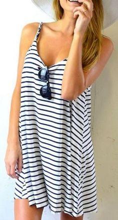 Cute + Comfy Spaghetti Strap A Line Stripe Dress #Spaghetti #Strap #Stripes #Beach #Dress #CoverUp