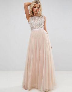 Rose gold sequin boho chic wedding dress asos