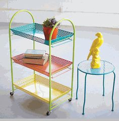 (CLearance) Bright Three Tier Rolling Serving Cart