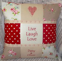 Sewing Cushions Patchwork cushion - would be simple to make using scrap fabrics and fusible webbing for the applique. Cute Pillows, Diy Pillows, Decorative Pillows, Patchwork Cushion, Quilted Pillow, Sewing Crafts, Sewing Projects, Christmas Cushions, Sewing Pillows