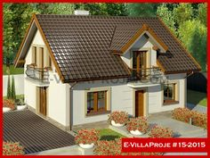 E-VillaProje #15-2015 Flat House Design, Wooden House Design, House Outside Design, Village House Design, Bungalow House Design, Village Houses, Home Building Design, Home Design Plans, Building A House