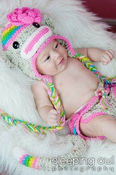 POPULAR Rainbow Sock Monkey HAT Size Newborn 3m 6m Crochet Baby Photo Prop Etsy Girl Clothes HALLOWEEN Costume Christmas Winter 2012. $34.95, via Etsy.