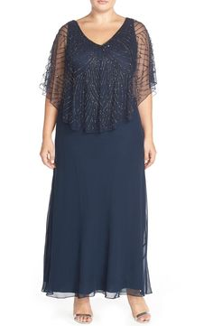 J Kara Embellished Cape Overlay V-Neck Gown (Plus Size) available at #Nordstrom