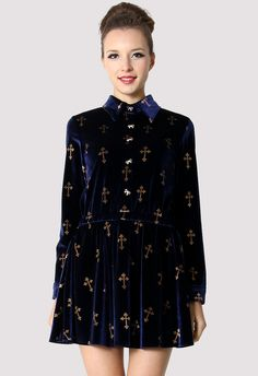 Golden Cross Stamped Velvet Dress Top in Blue - New Arrivals - Retro, Indie and Unique Fashion
