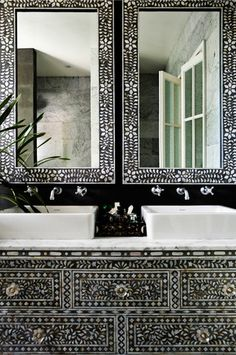 Exquisite black and white bone inlay bathroom design. Decor Scandinavian, Beautiful Bathrooms, Beautiful Mirrors, Beautiful Homes, Apartment Design, Interior Inspiration, Color Inspiration, My Dream Home, Interior And Exterior