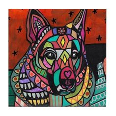 50% Off - German Shepherd art Tile Ceramic Coaster Mexican Folk Art Print of painting by Heather Galler Dog