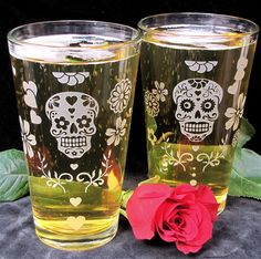 Oh I could try etching these! 2 Sugar Skull Pint Glasses, Dia De Muertos Beer Glasses, Etched Glass - The Wedding Gallery by Brad Goodell Crane, Sugar Skull Art, Sugar Skulls, Glass Etching, Etched Glass, Skulls And Roses, Beer Mugs, Shot Glasses, Day Of The Dead