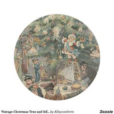 Vintage Christmas Tree and Gifts for People