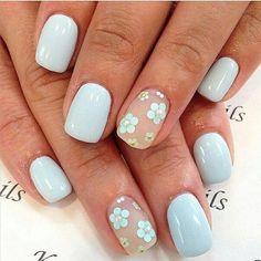 8 of March nails April nails April nails 2016 Caviar nails Easy nail designs Floral nails flower nail art Flower nails Flower Nail Designs, Best Nail Art Designs, Flower Nail Art, Floral Designs, Nails With Flower Design, Nail Designs For Spring, Nail Art Ideas For Summer, Blue Nails With Design, Light Blue Nail Designs