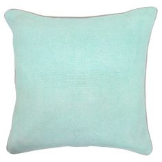 Add a pop of color to your sofa or favorite reading nook with this feather and down-filled cotton pillow, awash in a mint hue.  Prod...