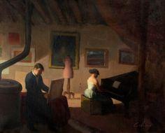 """35002225. CALSINA BARÓ, Ramón (Barcelona, 1901 – 1992). """"Interior"""". Óleo sobre lienzo. Firmado en el ángulo inferior derecho. Medidas: 59 x 72 cm; 85 x 97,5 cm (marco)."""