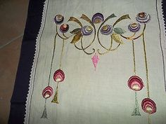 Beautiful Antique Arts Crafts Mission Embroidered Linen Runner