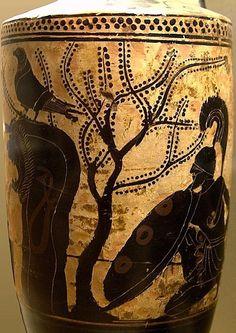 Polixena en la fuente 2: Aquiles acecha detrás de la fuente. Pintor de Atenea. Lecito ático, 480 a.n.e. Museo del Louvre