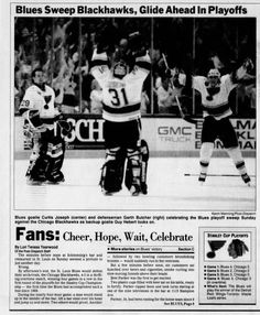 Blues Sweep Blackhawks in Playoffs, 1993 Blues Nhl, Go Blue, Hockey Teams, Letting Go, Sports, Hs Sports, Sport, Giving Up, Lets Go