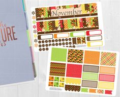 Pinning so I don't forget!! Remember to go back and check out Crafted By Corley on Etsy. November Monthly Sticker Set - Monthly View Stickers Erin Condren Vertical Horizontal and Hourly Planners Happy Planner Planner Stickers by CraftedByCorley