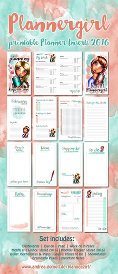 BRANDNEW Printable Planner Inserts XXL Set for 2016: Plannergirl by Andrea Gomoll
