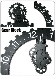 This fantastic wall clock has 10 gears running nonstop 24 hours a day. You can easily find out the time on this huge wheel (22″). Put one in your home or office now. Size: Gear diameter 50cm, Overall