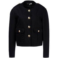 Love Moschino Blazer (€195) ❤ liked on Polyvore featuring outerwear, jackets, blazers, black, cotton jacket, cotton blazer, black jacket, love moschino jacket and blazer jacket