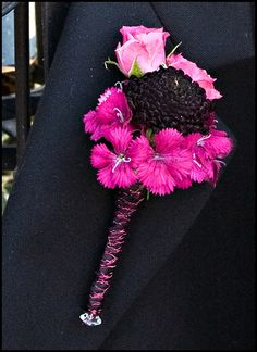 pink and purple boutonniere