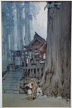 "Japanese Art Print ""Misty Day in Nikko"" by Yoshida Hiroshi, woodblock print reproduction, shrine, cu Art And Illustration, Botanical Illustration, Japanese Graphic Design, Japanese Prints, Hiroshi Yoshida, Art Occidental, Misty Day, Art Chinois, Architecture Sketches"