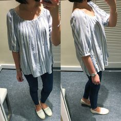 LOFT Striped Off The Shoulder Top, size S regular - review on www.whatjesswore.com