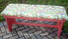 An old boring bench has been turned into this pretty place to sit; with a cushion and paisley fabric.  #Coral Reef Paint #Distressed #Vintage Paints