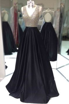 elegant black formal party dresses, fashion v-neck prom dresses with open back, elegant evening gowns for formal party.