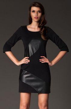 Robe bi-matières, noire.