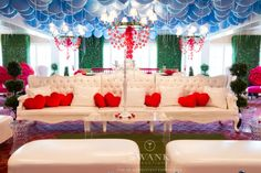 Alice In Wonderland Bat Mitzvah Lounge - Balloon Sky Ceiling with White Couches & Pillow Hearts {Party by Swank Productions, Sean Smith Photography} - mazelmoments.com