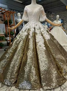 Ball Gown Gold Sequins Off The Shoulder Long Train Wedding Dress Gold Ball Gown Sequins White Appliques Off The Shoulder Wedding Dress Wedding Dress Train, Luxury Wedding Dress, Classic Wedding Dress, Wedding White, Dresses Elegant, Pretty Dresses, Bridesmaid Dresses, Prom Dresses, Wedding Dresses