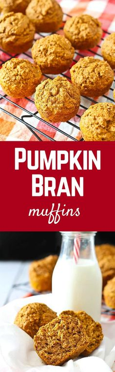 Pumpkin Bran Muffins - all the flavors of fall and pumpkin spice, in a healthy muffin. Perfect for breakfast or snacking. Get the easy recipe on ! Brunch Recipes, Baby Food Recipes, Baking Recipes, Breakfast Recipes, Breakfast Ideas, Healthy Recipes, Breakfast Muffins, Donut Recipes, Top Recipes