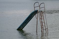 Abandoned water slide Koprivnica Soderica lake Croatia