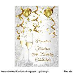 Shop Party silver Gold Balloon champagne glitter Invitation created by Zizzago. Glitter Invitations, Bachelorette Party Invitations, Quinceanera Invitations, Christmas Party Invitations, Elegant Invitations, Custom Invitations, Invitation Birthday, Invite, Black And Gold Balloons